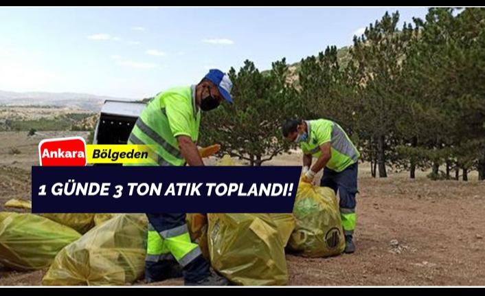 1 günde 3 ton atık toplandı