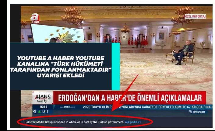 A Haber YouTube Kanalına 'Türk Hükümeti Tarafından Fonlanmaktadır' Uyarısı