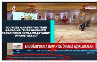 A Haber YouTube Kanalına 'Türk Hükümeti Tarafından...