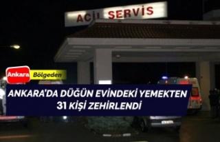 Ankara'da 31 kişi düğün evindeki yemekten...