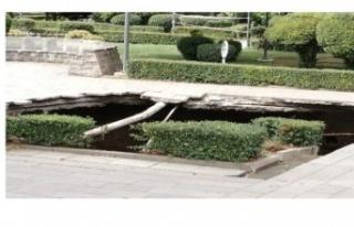 Ankara Güvenpark'ta çukur oluştu